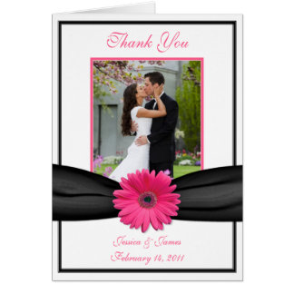 Merci rose de photo de mariage de noir de carte de vœux