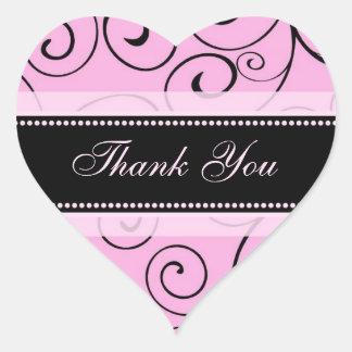 Merci rose et noir épousant des joints d'enveloppe sticker cœur