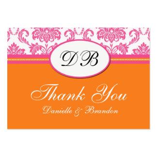 Merci rose et orange de mariage cartes de visite professionnelles