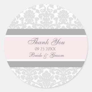 Merci rose gris de damassé épousant des étiquettes sticker rond