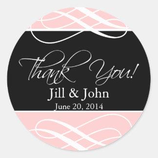 Merci rose noir épousant l'autocollant d'étiquette sticker rond