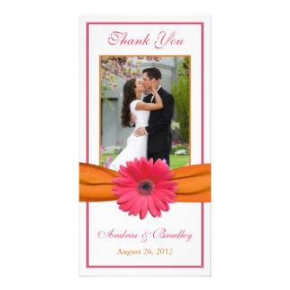 Merci rose Photocard de mariage de marguerite de G Photocarte Personnalisée