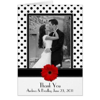Merci rouge blanc noir de mariage de marguerite de carte de vœux