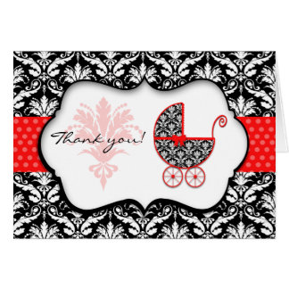 Merci rouge chic de baby shower de damassé de cartes