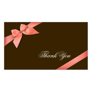 Merci rouge de corail Minicard de ruban Carte De Visite Standard