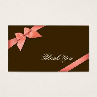 Merci rouge de corail Minicard de ruban Cartes De Visite