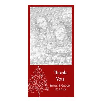 Merci rouge de mariage d'hiver d'arbre de Noël Photocartes Personnalisées