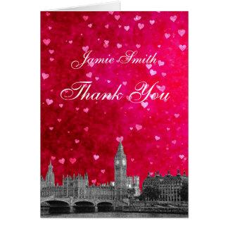Merci rouge-rose chaud de coeur d'horizon cartes de vœux