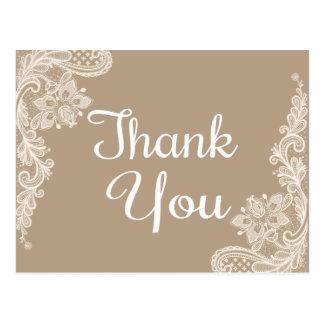 Merci rustique Brown et dentelle florale blanche Cartes Postales
