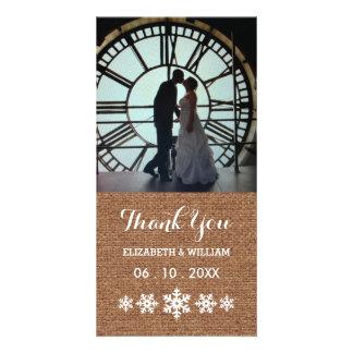 Merci rustique de flocons de neige de mariage cartes avec photo