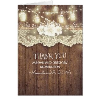 Merci rustique de mariage campagnard cartes de vœux