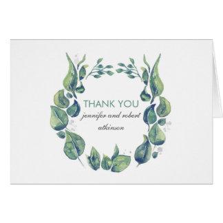 Merci rustique de mariage de guirlande de laurier cartes de vœux