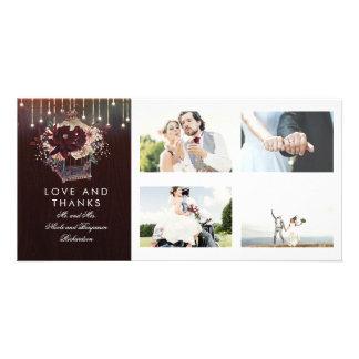 Merci rustique de mariage de lanterne florale de carte
