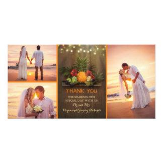 Merci rustique de mariage de plage d'ananas carte