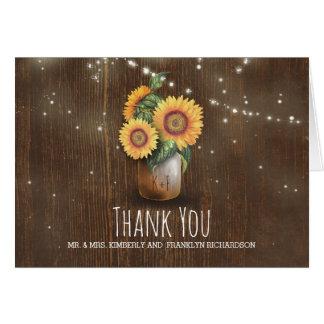 Merci rustique de mariage de tournesols de pot de cartes de vœux