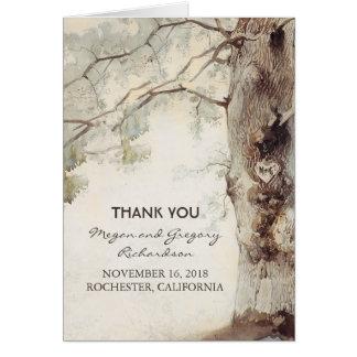 Merci rustique de mariage de vieil arbre cartes