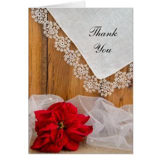 Merci rustique de mariage d'hiver de dentelle de cartes