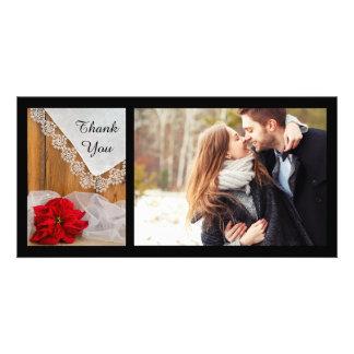 Merci rustique de mariage d'hiver de dentelle de photocarte personnalisée