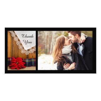 Merci rustique de mariage d'hiver de plaid de photocarte