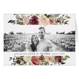 Merci rustique de photo de mariage de fleur cartes