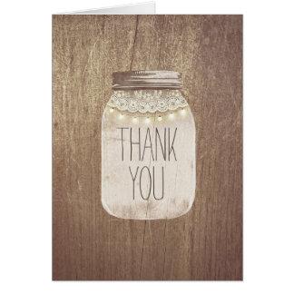 Merci rustique de pot de maçon cartes de vœux