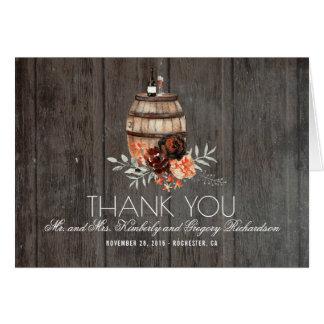 Merci rustique floral de Bourgogne de baril de vin Cartes