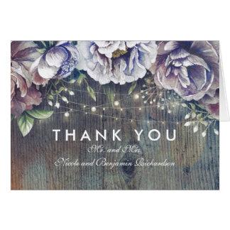 Merci rustique vintage bleu et marron de mariage cartes