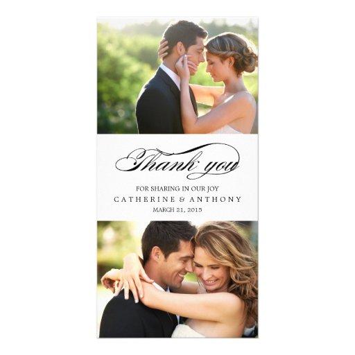 Merci simplement élégant de mariage - blanc cartes avec photo