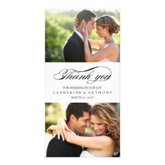 Merci simplement élégant de mariage - blanc photocarte customisée
