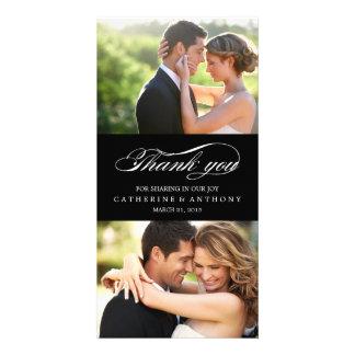 Merci simplement élégant de mariage - noir carte avec photo