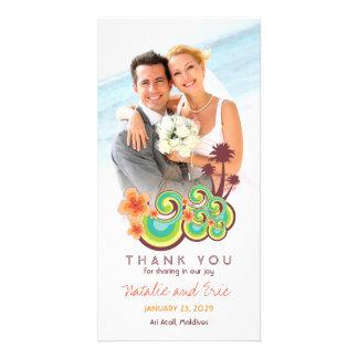 Merci tropical de mariage de plage de ketmie de photocartes personnalisées