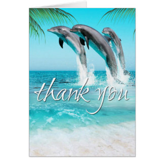 Merci TROPICAL d'OCÉAN de DAUPHINS ESPIÈGLES Carte De Vœux
