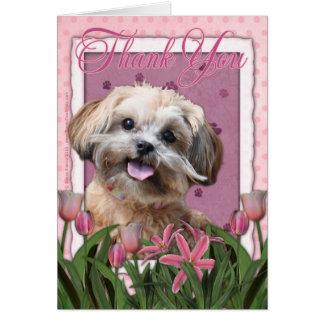 Merci - tulipes roses - ShihPoo - Maggie Carte De Vœux