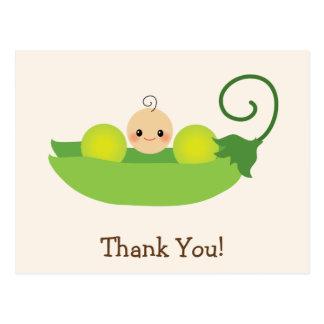 Merci vert de baby shower de pois doux cartes postales