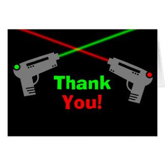 Merci vert rouge d'étiquette de laser cartes