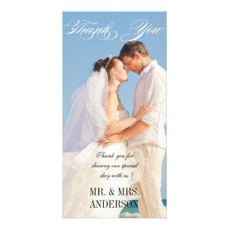 Merci vertical simple de mariage cartes de vœux avec photo