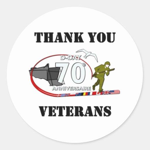 Merci vétérans - Thank you veterans Autocollant Rond