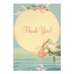 Merci vintage de baby shower de fille de rose de c bristols personnalisés