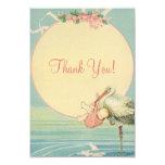Merci vintage de baby shower de fille de rose de bristols personnalisés