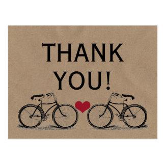 Merci vintage de bicyclette épousant des cartes cartes postales