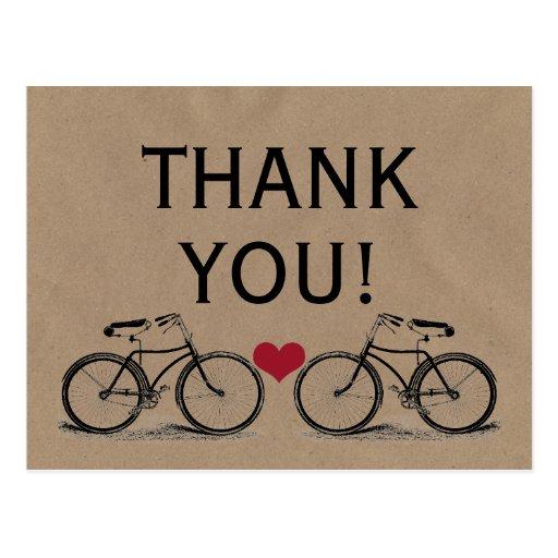Merci vintage de bicyclette épousant des cartes po carte postale
