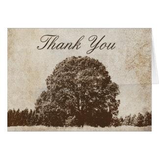 Merci vintage de chêne de Brown Cartes De Vœux
