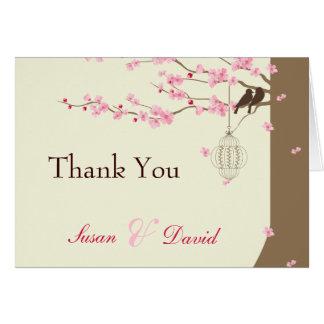 Merci vintage de fleurs de cerisier de cage cartes de vœux