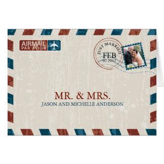 Merci vintage de mariage de par avion cartes de vœux