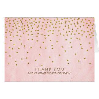 Merci vintage de mariage de rose de confettis d'or cartes