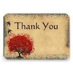 Merci vintage de mariage d'oiseau d'arbre rouge de invitations personnalisables