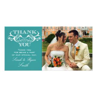 Merci vintage de photo de mariage de turquoise de  modèle pour photocarte
