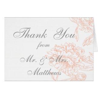 Merci vintage floral gris de corail de photo de ma carte de vœux