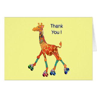 Mercis de girafe de patinage de rouleau cartes de vœux