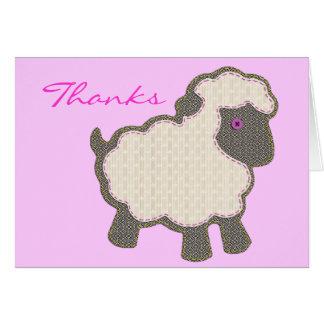 Mercis de rose d'Applique d'agneau de bébé Cartes